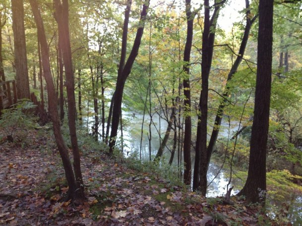 Ft. Benjamin Harrison, trail run, running, morning, fall, river